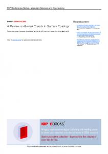 A Review on Recent Trends in Surface Coatings