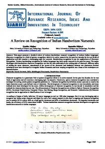 A Review on Recognition of Indian Handwritten ... - IJARIIT Journal