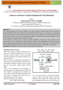 A Review on Selective Catalytic Reduction for NOX Reduction