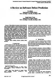A Review on Software Defect Prediction - IJARCET
