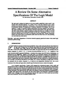 A Review on Some Alternative Specifications of the Logit Model