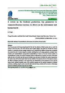 A review on the biodiesel production, key parameters in ...