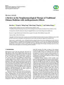 A Review on the Nonpharmacological Therapy of Traditional Chinese