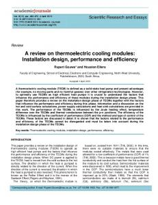 A review on thermoelectric cooling modules