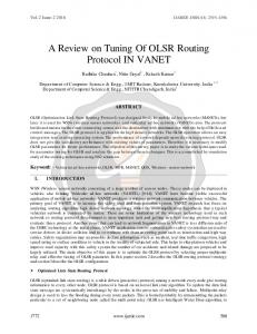 A Review on Tuning Of OLSR Routing Protocol IN ...