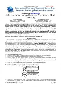 A Review on Various Load Balancing Algorithms in Cloud Computing