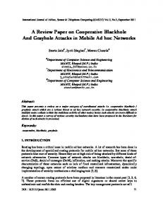 A Review Paper on Cooperative Blackhole And ... - Aircc Digital Library