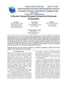 A Review: Secure Payment System for Electronic ... - Semantic Scholar
