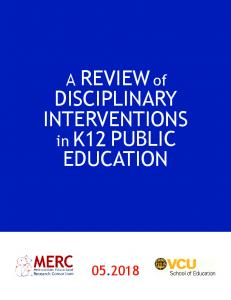 A REVIEWof DISCIPLINARY INTERVENTIONS in K12 ...
