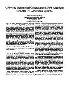 A Revised Incremental Conductance MPPT Algorithm for Solar PV ...
