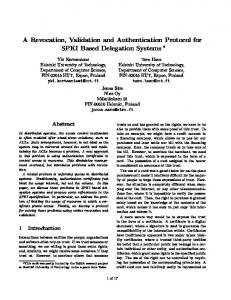 A Revocation, Validation and Authentication Protocol for ... - Tero Hasu