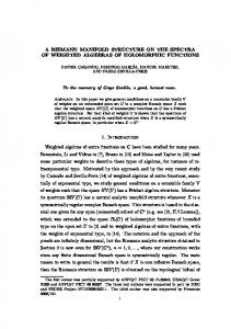 A RIEMANN MANIFOLD STRUCTURE ON THE SPECTRA OF ...