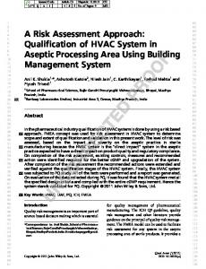 A Risk Assessment Approach: Qualification of HVAC