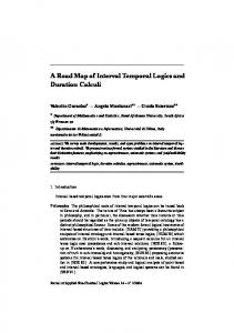 A Road Map of Interval Temporal Logics and Duration ... - PhilArchive
