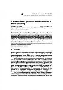 A Robust Genetic Algorithm for Resource Allocation in ... - Springer Link