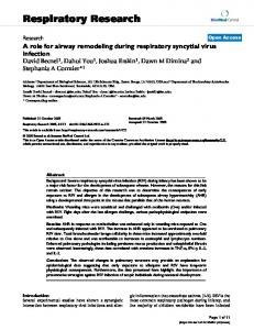 A role for airway remodeling during respiratory syncytial virus infection
