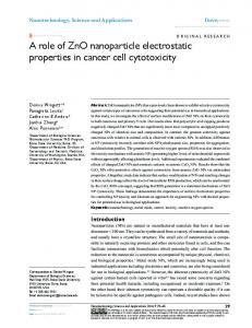 A role of ZnO nanoparticle electrostatic properties in cancer cell