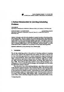A Rollout Metaheuristic for Job Shop Scheduling ... - Semantic Scholar