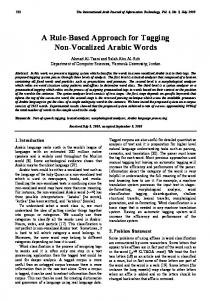 A Rule-Based Approach for Tagging Non-Vocalized Arabic Words