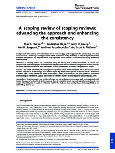A scoping review of scoping reviews - CiteSeerX