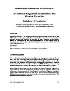 A Secondary Fingerprint Enhancement and ... - Semantic Scholar