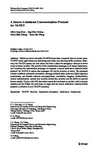 A Secure Ambulance Communication Protocol for ... - Springer Link