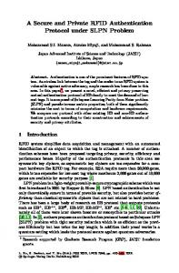 A Secure and Private RFID Authentication Protocol ... - Springer Link