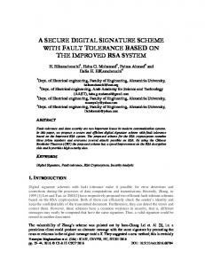 a secure digital signature scheme with fault tolerance based ... - AIRCC
