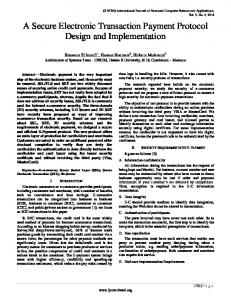 A Secure Electronic Transaction Payment Protocol Design and ...