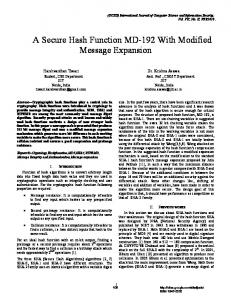 A Secure Hash Function MD-192 With Modified ... - Semantic Scholar