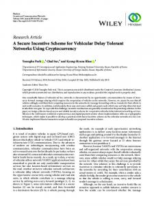 A Secure Incentive Scheme for Vehicular Delay Tolerant Networks ...