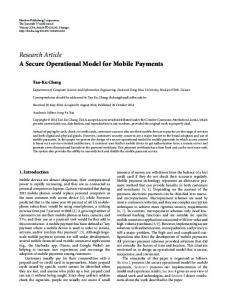 A Secure Operational Model for Mobile Payments