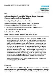 A Secure Routing Protocol for Wireless Sensor Networks ... - MDPI