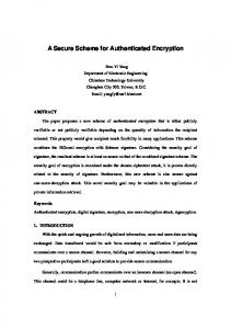 A Secure Scheme for Authenticated Encryption - Cryptology ePrint ...