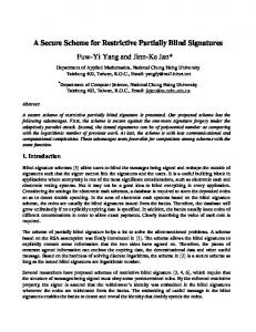 A Secure Scheme for Restrictive Partially Blind ... - Semantic Scholar