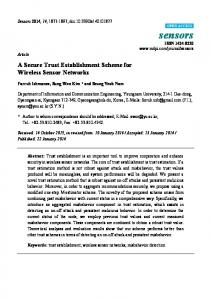 A Secure Trust Establishment Scheme for Wireless Sensor Networks