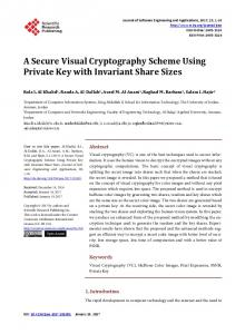A Secure Visual Cryptography Scheme Using Private Key with ...