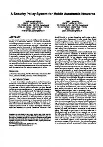 A Security Policy System for Mobile Autonomic ... - ACM Digital Library