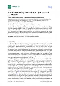 A Self-Provisioning Mechanism in OpenStack for IoT Devices - MDPI