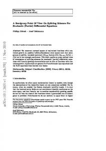A Semigroup Point Of View On Splitting Schemes For Stochastic ...