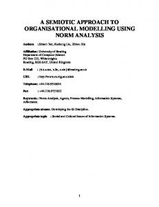 a semiotic approach to organisational modelling using ... - CiteSeerX