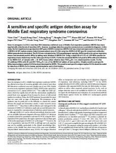 A sensitive and specific antigen detection assay for ... - Semantic Scholar
