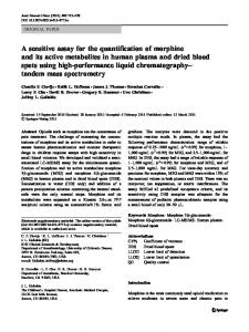 A sensitive assay for the quantification of morphine and ... - Springer Link