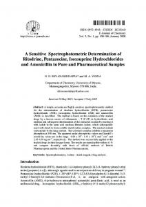 A Sensitive Spectrophotometric Determination of Ritodrine ... - Hindawi