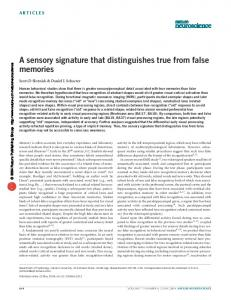 A sensory signature that distinguishes true from false memories