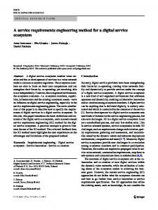 A service requirements engineering method for a digital service ...