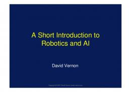 A Short Introduction to Robotics and AI - David Vernon