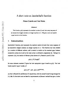 A short note on Jacobsthal's function