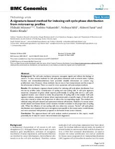 A signature-based method for indexing cell cycle ... - BMC Genomics