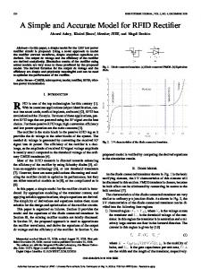 A Simple and Accurate Model for RFID Rectifier - Semantic Scholar